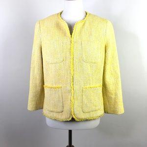 Talbots Yellow Tweed Lyla Blazer Jacket Fringe